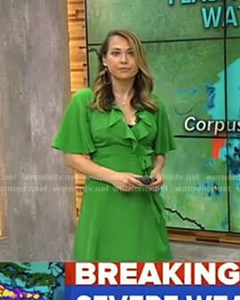 Ginger's green ruffled wrap dress on Good Morning America