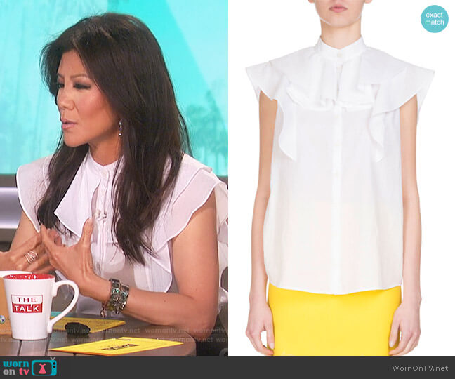 Sleeveless Poplin Ruffle Blouse by Givenchy worn by Julie Chen  on The Talk