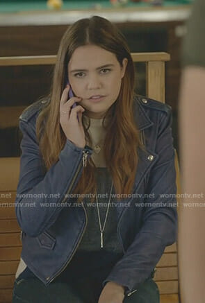 Grace's blue moto jacket on Good Witch