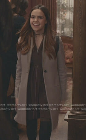 Grace's brown zip-front dress and grey coat on Good Witch