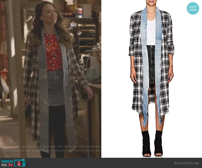 Plaid Flannel & Denim Long Kimono by Greg Lauren worn by Liza Miller (Sutton Foster) on Younger