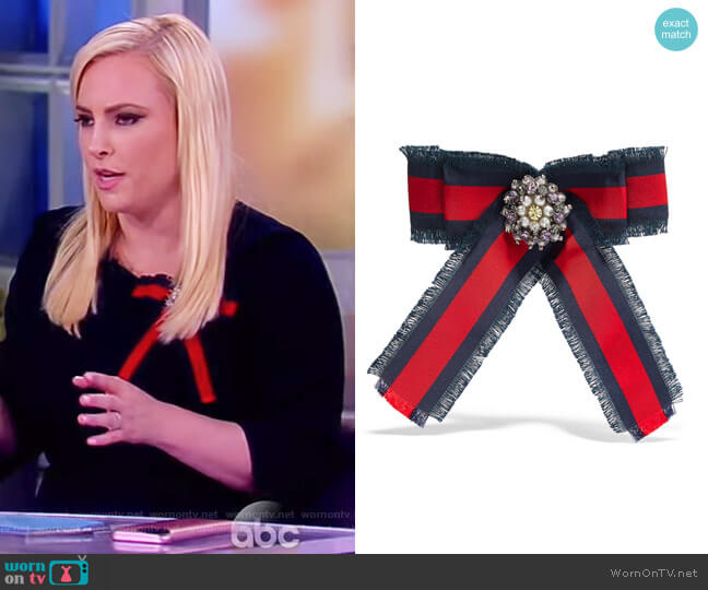Grosgrain, crystal and faux pearl brooch by Gucci worn by Meghan McCain on The View
