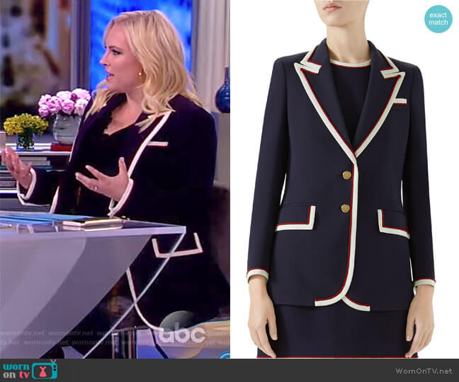 Grosgrain-trimmed cady blazer by Gucci worn by Meghan McCain on The View