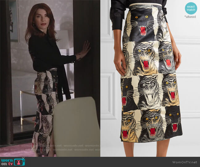 Printed silk-charmeuse midi skirt by Gucci worn by Kitty Montgomery (Julianna Margulies) on Dietland