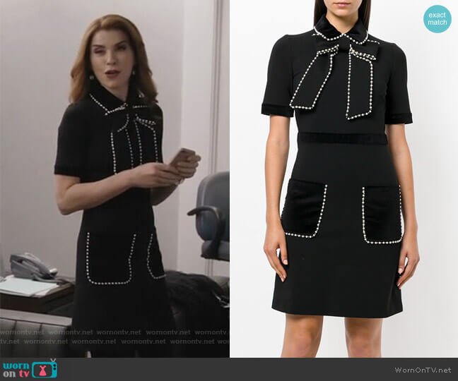 Pearl and Gem Embellished Dress by Gucci worn by Julianna Margulies on Dietland