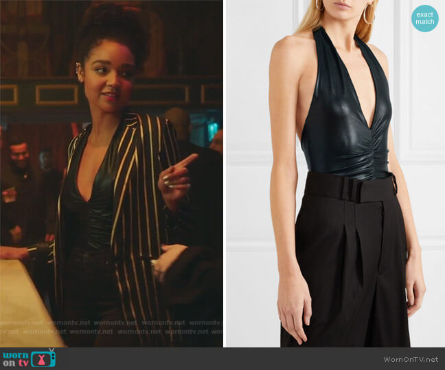 Kate Metallic Jersey Halter Bodysuit by Halston Heritage worn by Kat Edison (Aisha Dee) on The Bold Type