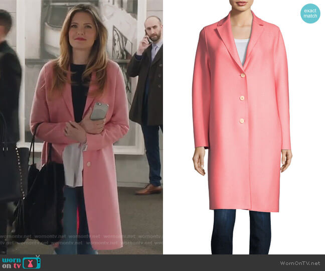 Wool Button-Front Coat by Harris Wharf London worn by Sutton (Meghann Fahy) on The Bold Type