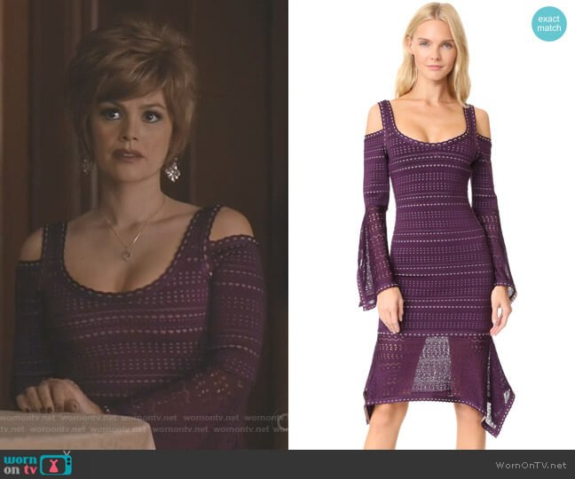 Cold Shoulder Ruffle Trim Dress by Herve Leger worn by Rachel Bilson on Take Two