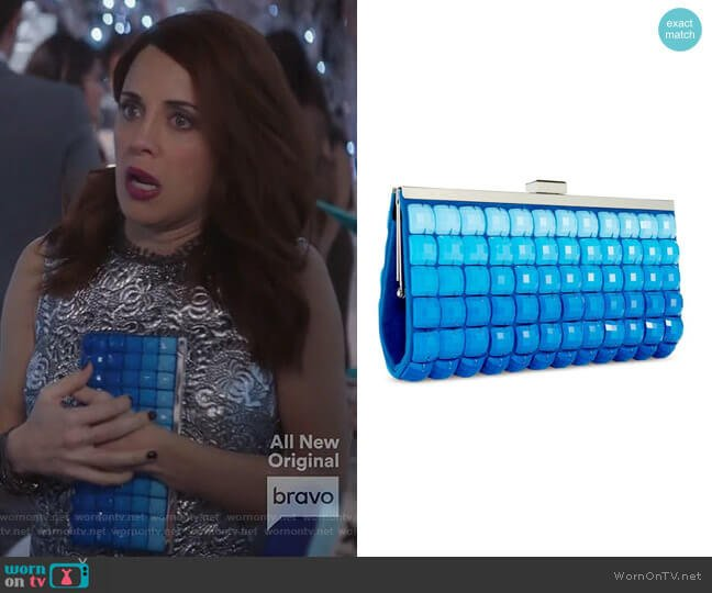 Blue Ombre Tile Clutch Purse by INC International Concepts worn by Jo (Alanna Ubach) on GG2D