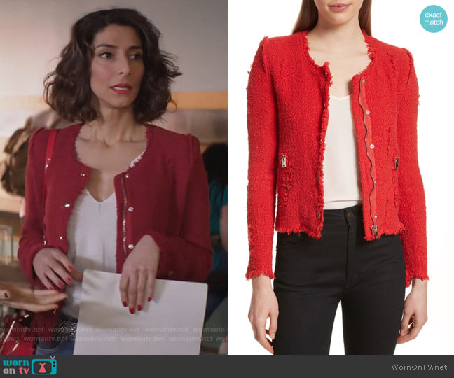'Agnette' Tweed Jacket by IRO worn by Delia (Necar Zadegan) on GG2D