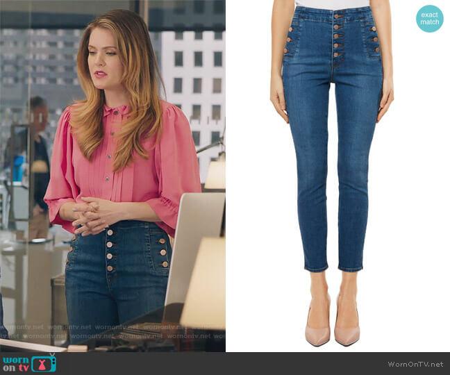 Natasha Sky High High Waist Crop Skinny Jeans by J Brand worn by Meghann Fahy on The Bold Type