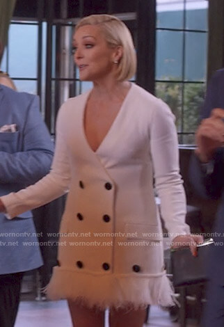 Jacqueline's white feather trimmed blazer dress on Unbreakable Kimmy Schmidt