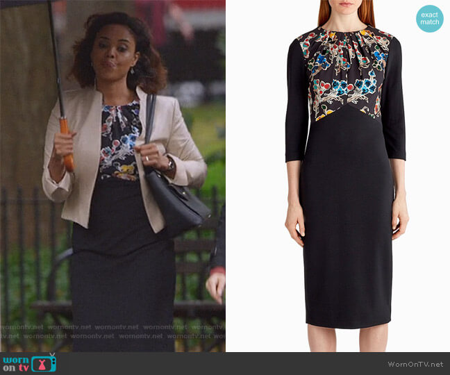 Ponte Floral Long Sleeve Day Dress by Jason Wu worn by Jasmine Gooden (Sharon Leal) on Instinct