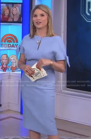 Jenna's blue tie sleeve keyhole dress on Today