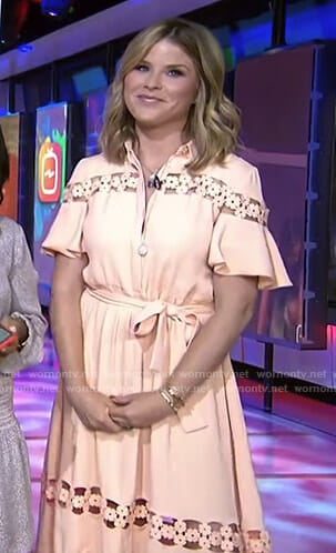 Jenna's pink floral lace inset dress on Today