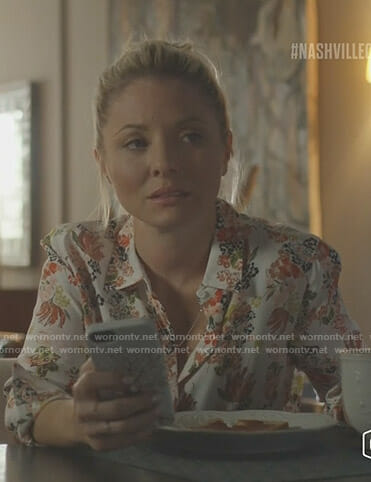 Jessie's white floral blouse on Nashville