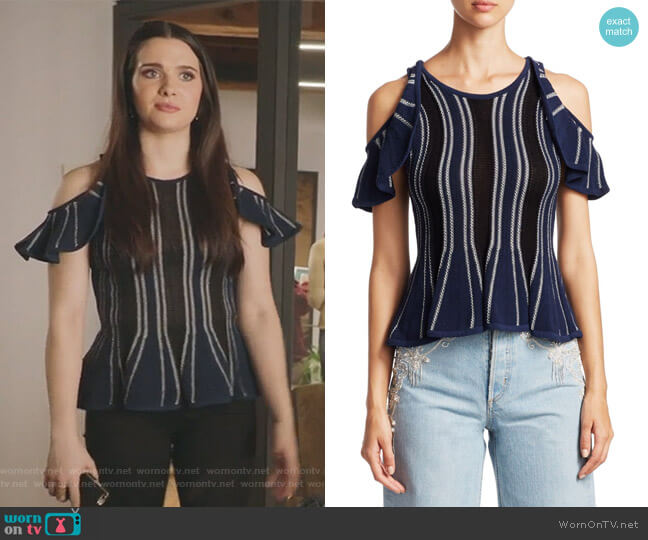 Striped Cold-Shoulder Top by Jonathan Simkhai worn by Katie Stevens on The Bold Type