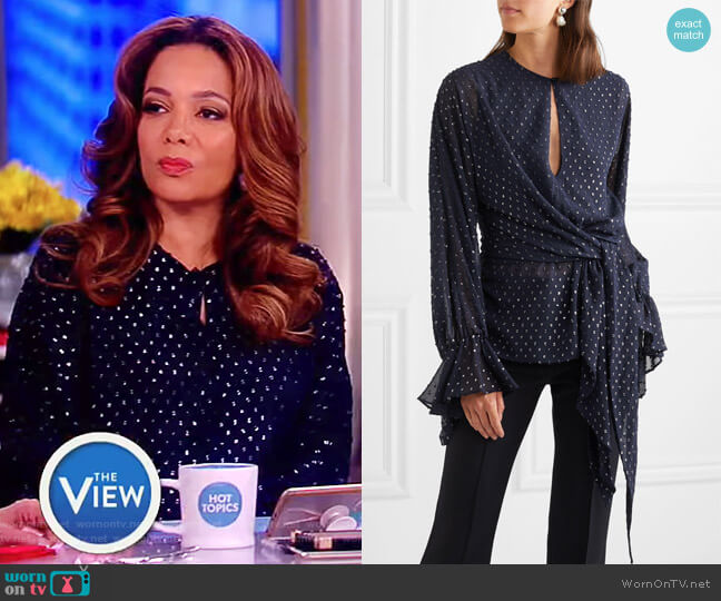 Embellished chiffon blouse by Jonathan Simkhai worn by Sunny Hostin  on The View