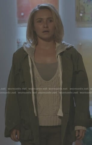 Juliette's white cable knit hoodie on Nashville