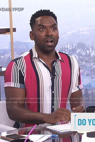 Justin's striped short sleeve shirt on E! News Daily Pop