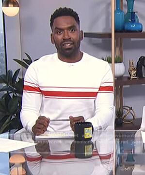 Justin's white striped sweatshirt on E! News Daily Pop