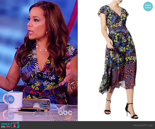 Mixed Print Lace-Up Midi Dress by Karen Millen worn by Sunny Hostin on The View
