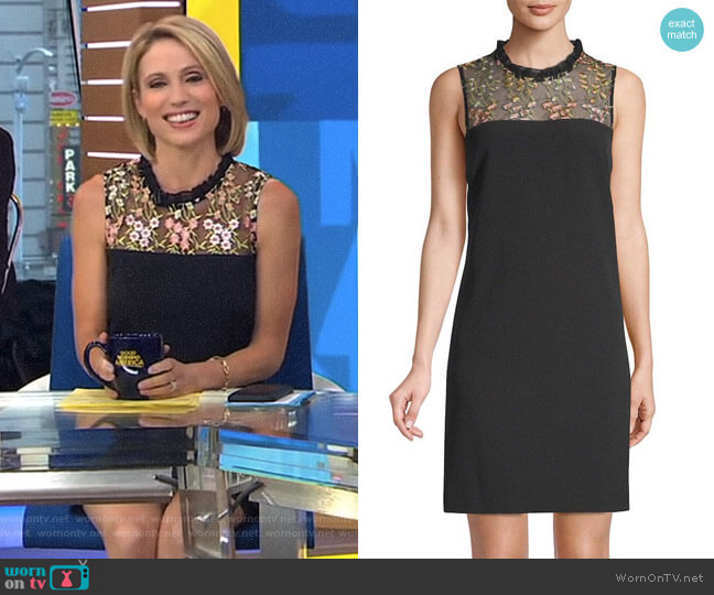 Embroidered Sheath Dress by Karl Lagerfeld worn by Amy Robach  on Good Morning America