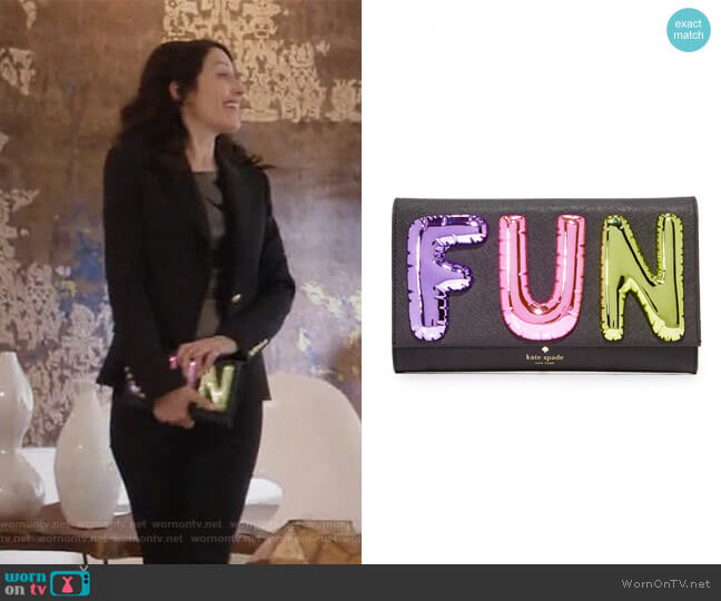 whimsies fun clutch by Kate Spade worn by Abby McCarthy (Lisa Edelstein) on GG2D