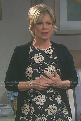 Kayla's black floral embroidered dress on Days of our Lives