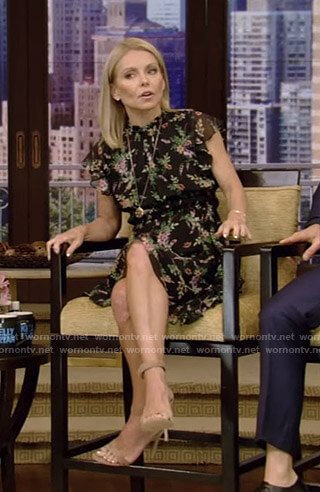Kelly's black floral ruffled dress on Live with Kelly and Ryan