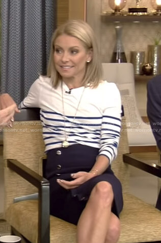 Kelly's white striped top and buttoned pencil skirt on Live with Kelly and Ryan