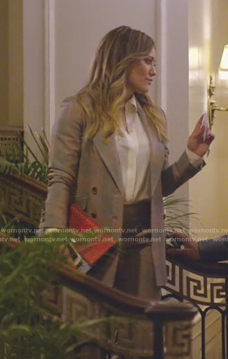 Kelsey's grey and red checked suit on Younger