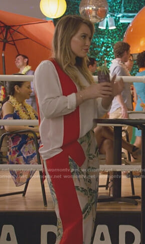 Kelsey's white contrast top and palm print pants on Younger