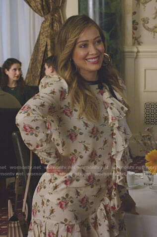 Kelsey's white floral ruffled dress on Younger