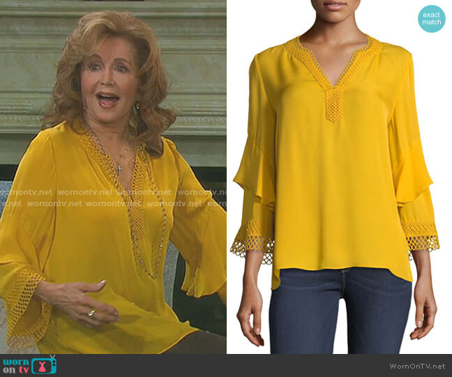 Adreanna Eyelet Silk Top by Kobi Halperin worn by Maggie Horton (Suzanne Rogers) on Days of our Lives