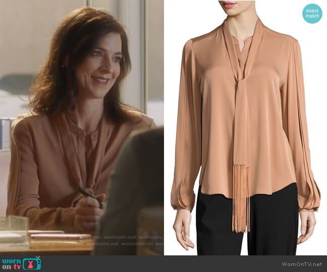Tara Fringed Tie-Neck Stretch-Silk Blouse by Kobi Halperin worn by Nina Devon (Perrey Reeves) on Famous in Love