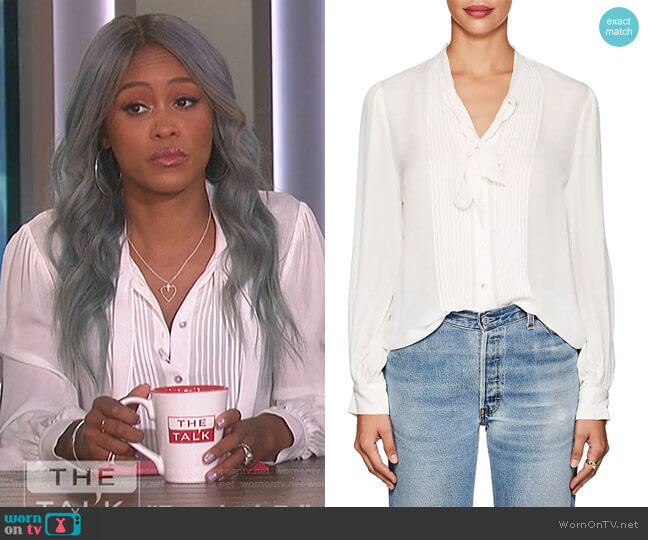 Brook Silk Tieneck Blouse by L'Agence worn by Eve on The Talk