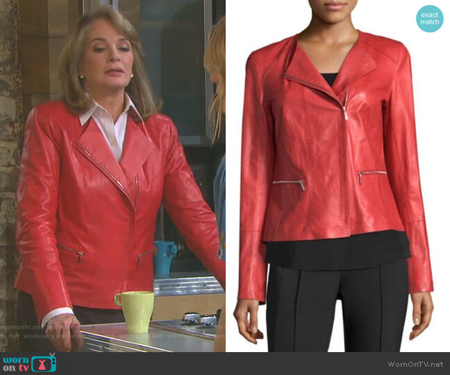 Caridee Leather Jacket by Lafayette 148 New York worn by Deidre Hall on Days of our Lives