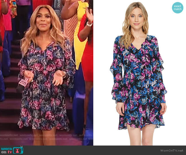 Floral Printed Dress with Ruffle Detail by Laundry by Shelli Segal worn by Wendy Williams  on The Wendy Williams Show