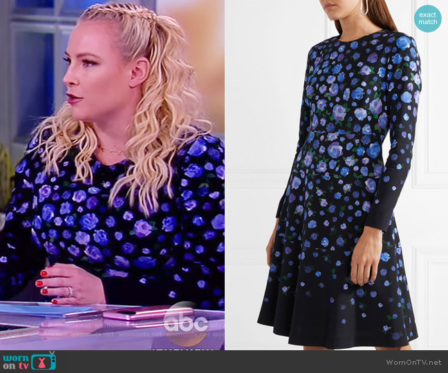 Floral-print crepe dress by Lela Rose worn by Meghan McCain (Meghan McCain) on The View