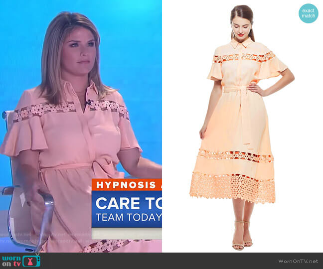 Textured Lace Inset Flutter Sleeve Shirt Dress by Lela Rose worn by Jenna Bush Hager on Today