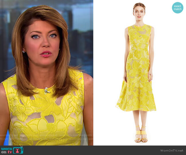Raised Floral Fil Coupe Full Skirt Dress by Lela Rose worn by Norah O'Donnell on CBS This Morning