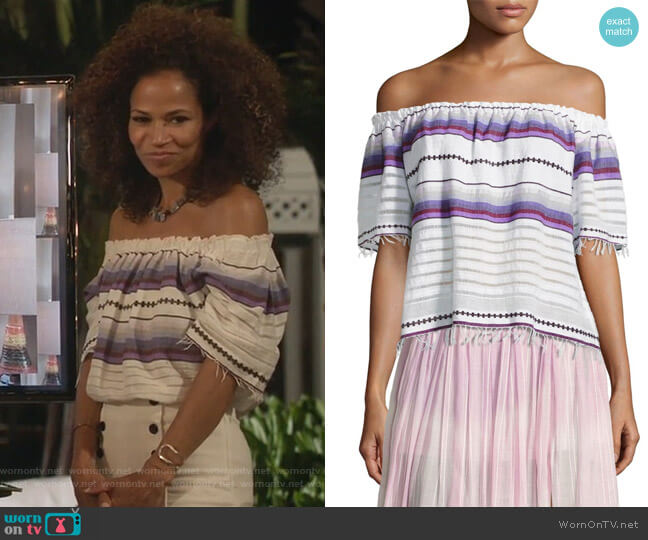 Adia Striped Off-The-Shoulder Top by LemLem worn by Lena Adams Foster (Sherri Saum) on The Fosters