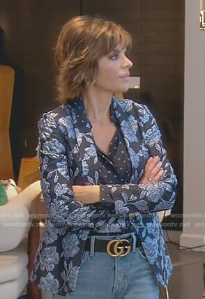 Lisa's blue floral jacket on The Real Housewives of Beverly Hills