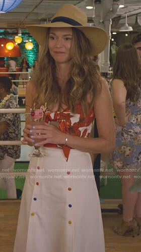 Liza's orange floral knot front top and white sailor skirt on Younger