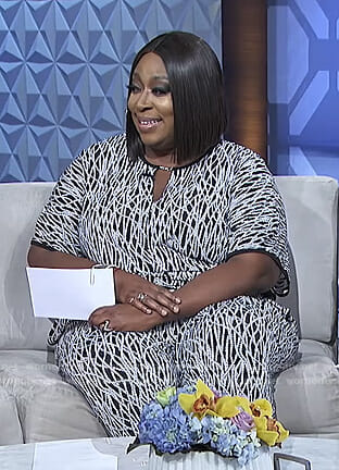 Loni's black printed keyhole jumpsuit on The Real