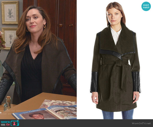 Lorian Wrap Coat by Belle Badgley Mischka worn by Abigail Pershing (Sarah Power) on Good Witch