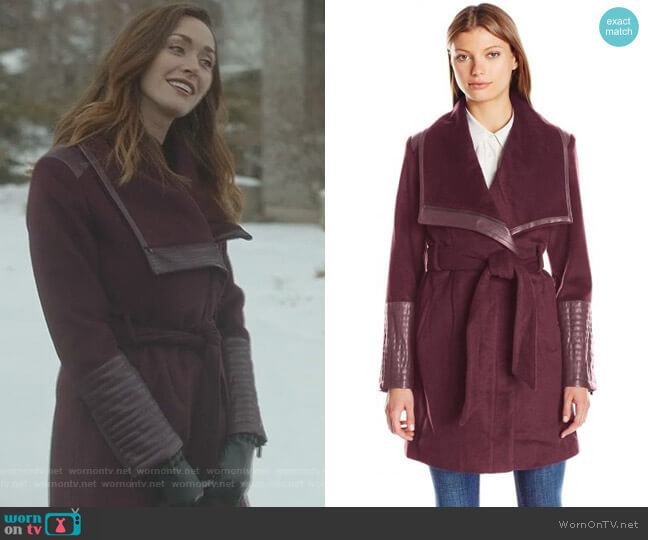 'Lorian' Wrap Coat by Belle Badgley Mischka worn by Abigail Pershing (Sarah Power) on Good Witch
