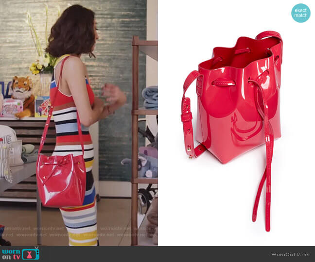 Mini Mini Leather Bucket Bag by Mansur Gavriel worn by Necar Zadegan on GG2D