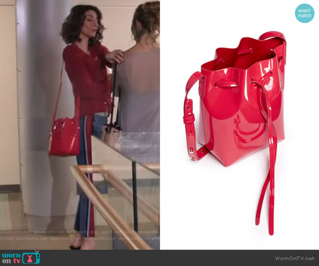 Mini Mini Patent Leather Bucket Bag by Mansur Gavriel worn by Delia (Necar Zadegan) on GG2D